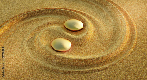 Acrylic Prints Stones in Sand Yin Yang Gold