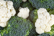 Broccoli And Cauliflower Florets Close Up