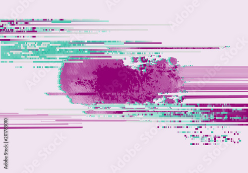 Abstract Background With Glitch Effect Modern Design Composition Pink And Emerald Contrast Color