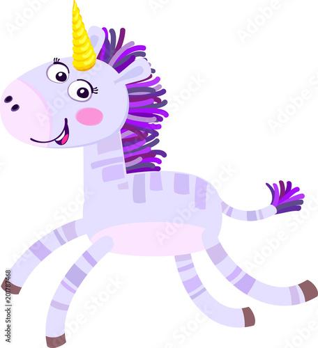 Poster Pony Cute cartoon unicorn. Flat vector illustration.