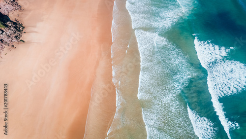 Wall Murals Air photo Aerial view of a wild beach in Asturias