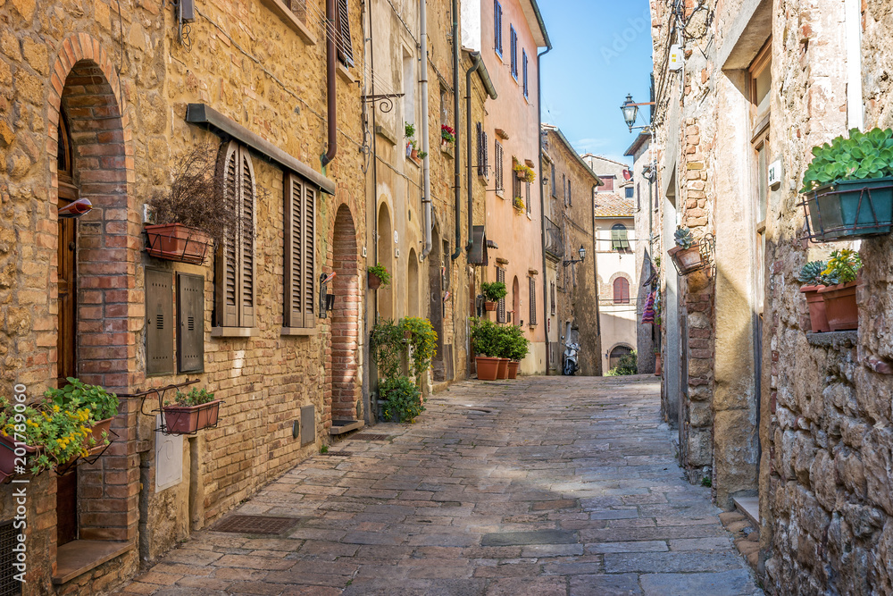Fototapeta Beautiful alley in Tuscany, Old town, Italy