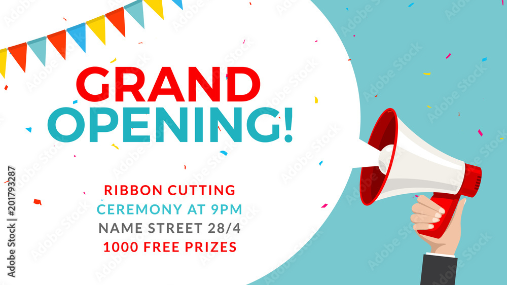 Fototapeta Grand opening flyer banner template. Marketing business concept with megaphone. Grand Opening advertising