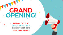 Grand Opening Flyer Banner Template. Marketing Business Concept With Megaphone. Grand Opening Advertising