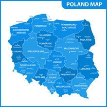 The Detailed Map Of Poland Wit...
