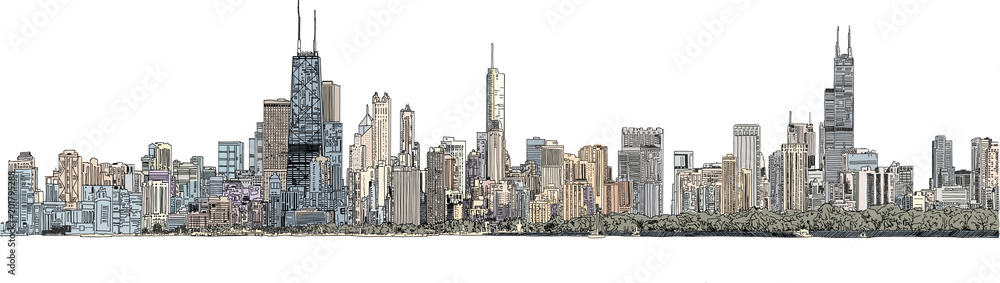Fototapeta Hand drawn illustration. Color panorama of the Chicago skyline. Detailed ink look and feel with color