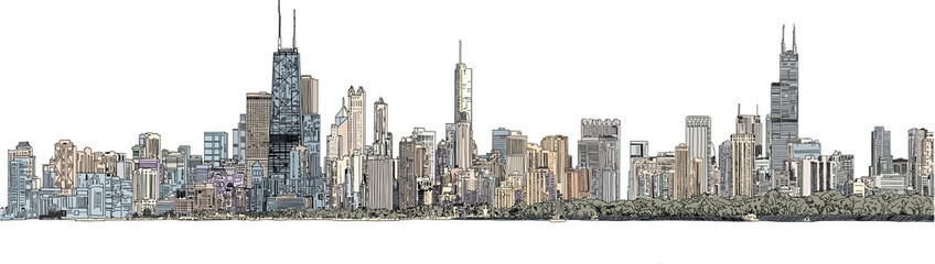 Hand drawn illustration. Color panorama of the Chicago skyline. Detailed ink ...