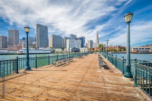 Canvas Prints San Francisco Historic Pier 7 with San Francisco financial district, California, USA