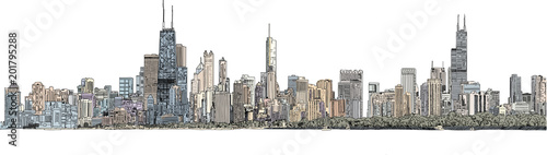 Hand drawn illustration. Color panorama of the Chicago skyline. Detailed ink look and feel with color - 201795288