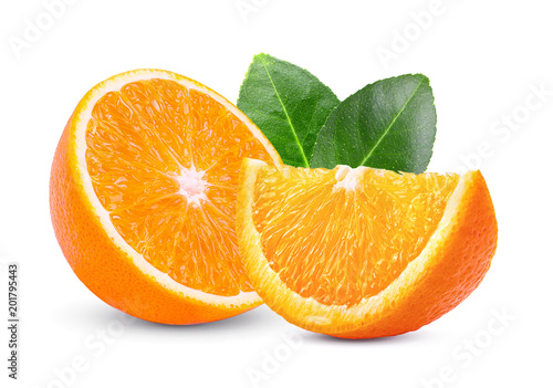 Deurstickers Vruchten orange isolated on white background