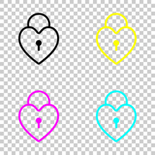 Heart Lock, Padlock. Simple Silhouette. Colored Set Of Cmyk Icons On Transparent Background