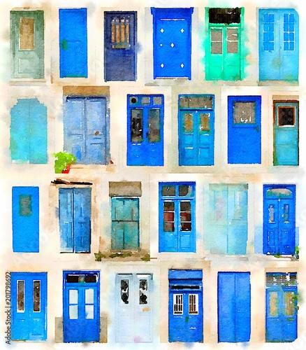 Photo Watercolor of blue doors