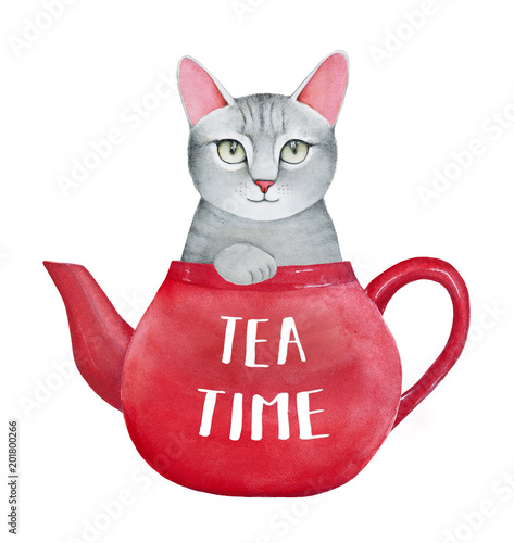 Tea Time Illustration With Beautiful Smiling Kitten Bright Red