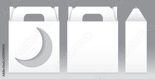 box white window crescent moon shape cut out packaging template