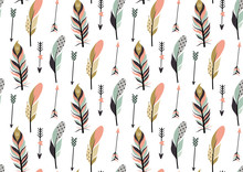 Tribal Feathers And Arrows Seamless Pattern.