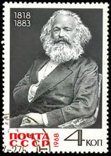 Ukraine - Circa 2018: A Postage Stamp Printed In USSR Show Karl Heinrich Marx Is A German Philosopher, Sociologist, Economist, Writer, Poet, Political Journalist, Public Figure. Circa 1968.