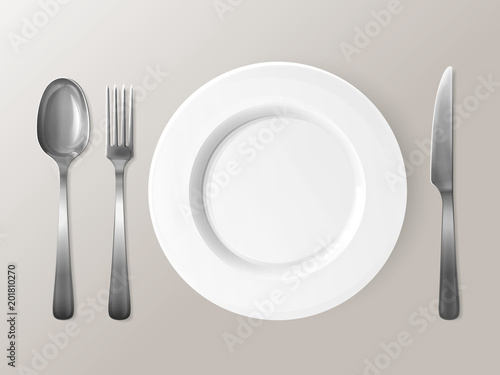 Spoon Fork Or Knife And Plate Vector Ilration Isolated Realistic Set Of Table