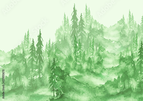 Poster Aquarel Natuur Watercolor painting, picture, landscape - green forest, nature, tree. It can be used as logo, card, illustration.