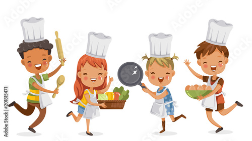 Fototapeta Children cooking.boys and girls preparing the cooking equipment together happily. holds kitchenware,vegetables and eggs. concept is learning and practicing moments of childhood.Vector illustrations.  obraz