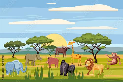 Photo Set of cartoon african animals, background landscapes savanna