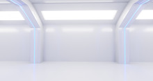 3d Rendering Of Realistic White Sci Fi Corridor With Lights