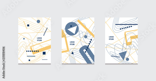 Vászonkép Stock vector set of abstract brochure template covers