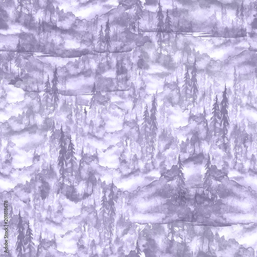 Printed kitchen splashbacks Purple Seamless watercolor pattern, background. purple, monochrome spruce, pine, cedar, larch, abstract forest, silhouette of trees.