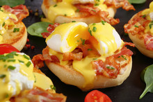 Eggs Benedict On A Plate, Clos...