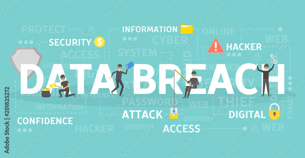 Fototapeta Data breach concept.