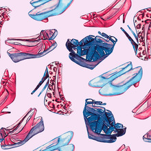 Modern Ladies Shoes: Wedge, Slingbacks, Stilettos, Court Shoes And Kitten Heel In Red And Blue Colors Palette, Hand Painted Watercolor Illustration, Seamless Pattern On Soft Pink  Background