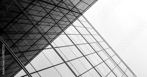 architecture of geometry at glass window - monochrome - 201827253