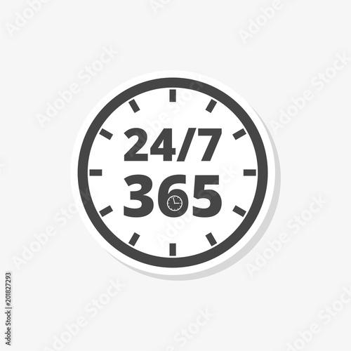 Fényképezés  Open 24/7 - 365, 24/7 365, 24/7 365 sticker, simple vector icon