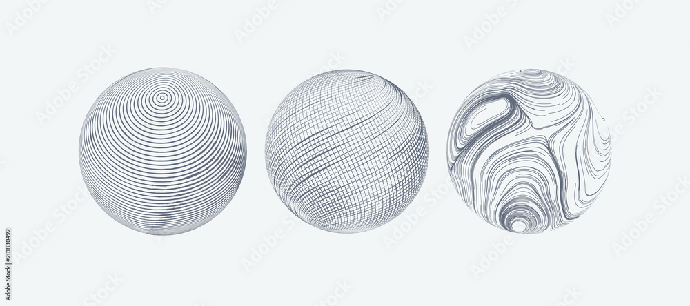 Fototapety, obrazy: Set of spheres with engraved texture.
