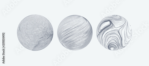 Set of spheres with engraved texture. - 201830492
