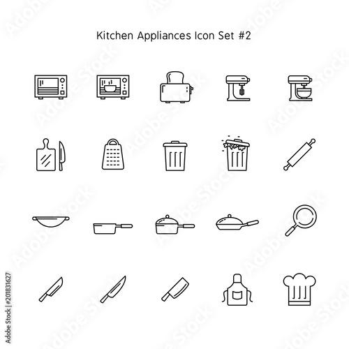 Simple Line Kitchen Appliances Icon Set Household Illustration