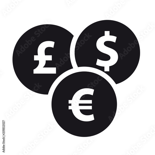 Fototapeta Different Currencies Flat Icon - Vector Illustration - Isolated On White Background obraz