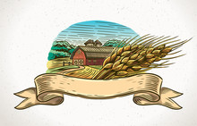 Graphical Illustration Of A Farm With A Sheaf Of Wheat In The Foreground And A Design Element - Tapes For Inscription.