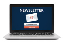 Subscribe Newsletter Concept On Laptop Computer Screen. Isolated On White Background. All Screen Content Is Designed By Me.
