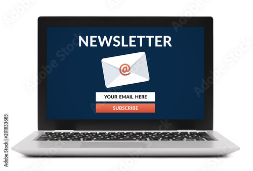 Fotografía  Subscribe newsletter concept on laptop computer screen