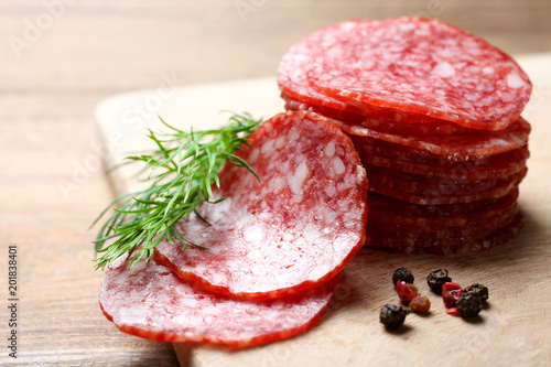 Valokuvatapetti Sausage salami and spices