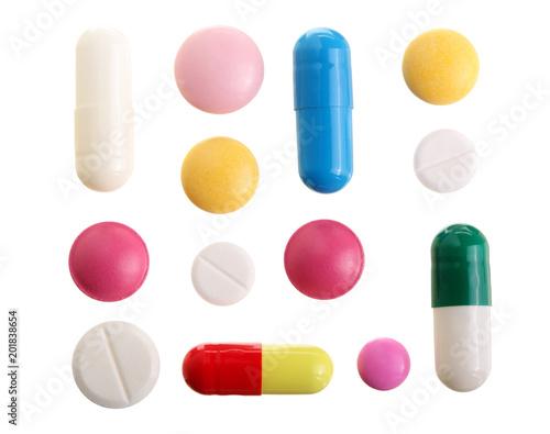 Fotografia multicolor pill capsule isolated on white background