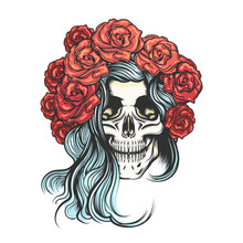 Skull In Rose Wreath