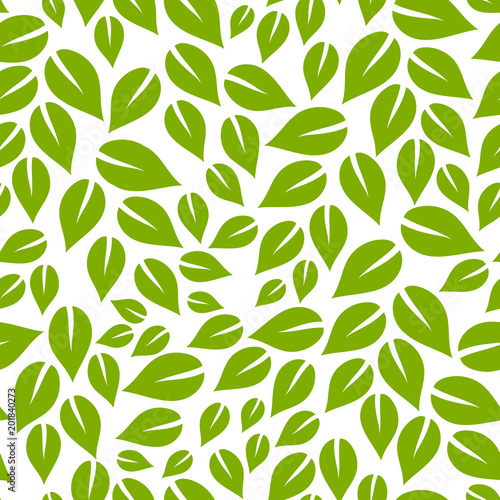 Green And White Simple Leaves Seamless Pattern Vector Buy
