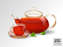 Composition Of A Glass Cup And Tea Pot With Tea. Realistic Vector Image. Vanilla Pods And Orchid Flower.