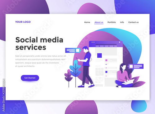 Fotografía  Flat Modern design of wesite template - Social Media Services