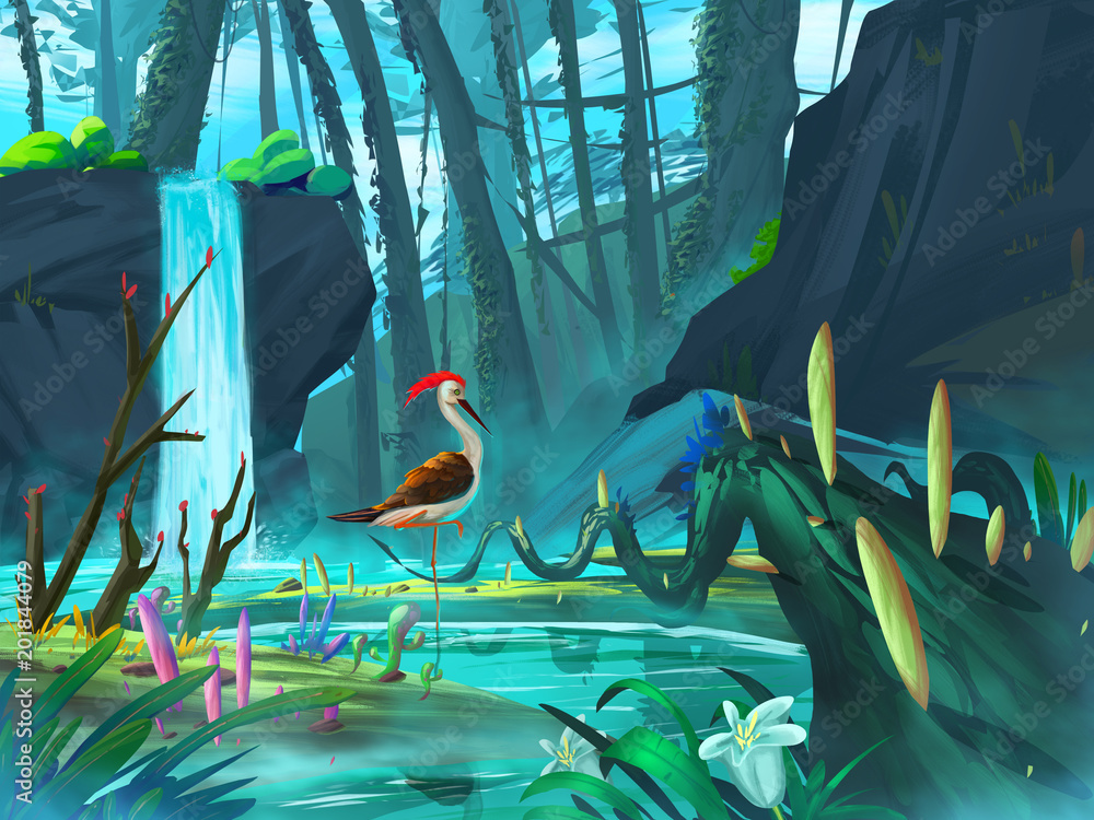 Fototapeta The Pheasant in the Waterfall Forest with Fantastic, Realistic and Futuristic Style. Video Game's Digital CG Artwork, Concept Illustration, Realistic Cartoon Style Scene Design