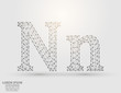 English letters abstract font consists 3d of triangles, lines, dots and connections. Vector illustration EPS 10.