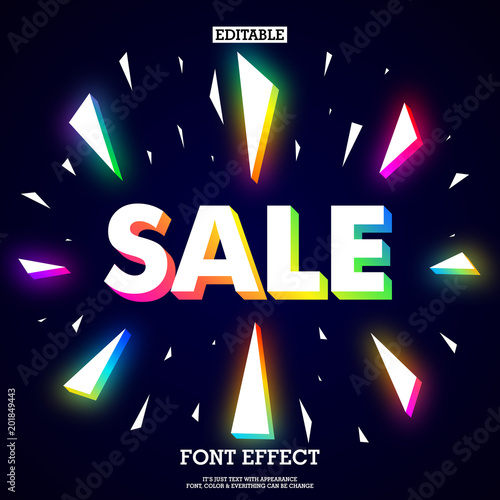 neon sale design with break colorful neon particles