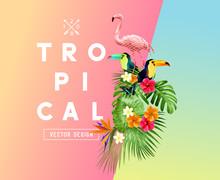 Bright Tropical Floral Element...