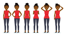 Set Of Woman's Emotions. Facial Expression. Set Of Beautiful African-american Girl Emotional Portraits. Positive And Negative Female Feelings. Vector Cartoon Illustration Of A Flat Design